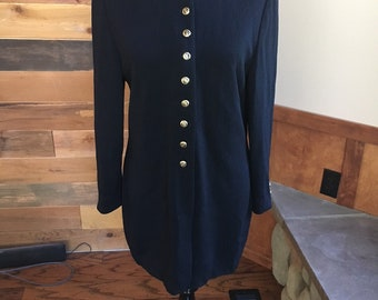 Vintage St. John Black Cardigan Knit Jacket Size Medium/Designer St. John Basics Black Knit Jacket Mandarin collar Sweater/Santana Knit