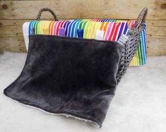 Large rainbow tag blanket for baby girl with minky- stroller blanket- Unique handmade baby shower gift- crib bedding- More options available