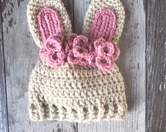 Bunny Rabbit Hat with flowers Photo Prop