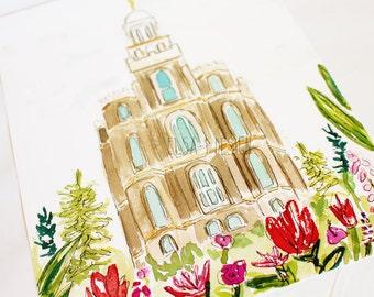 Logan, Utah LDS Temple - Watercolor Temple 8x10  print by Elsa Ferre