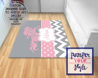Horse Area Rug - Horse Bedroom - Gray and Pink Horse Rug - Bedroom Decor - Horse Personalzied Rug -