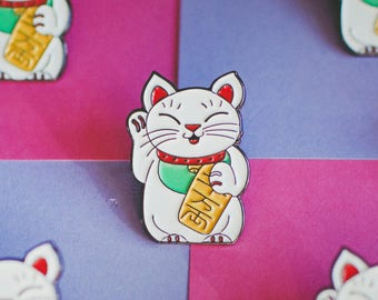 Lucky Cat Maneki-Neko Soft Enamel Pin