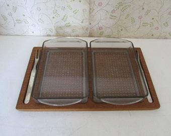 Vintage Luthje Savoury Set Genuine Burma Teak Made in Denmark Appetizer Tray Set
