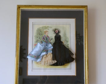 "Table dressed fashion, vintage, XIX century engraving, frame window, ""the illustrated fashion"""