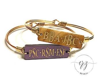Multi-Monogram Bar Hook Bangle, Bangle, Bracelet, Monogram, Monogrammed Jewelry, Mother's Day Gift