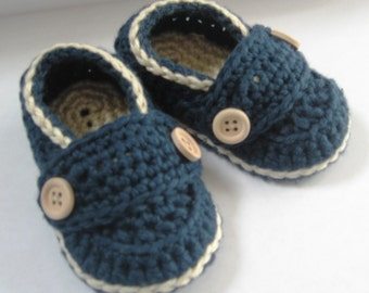 Crochet Baby Booties Pima Cotton Little Button Loafers You Choose Size and Colors