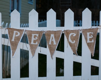 Upcycled PEACE Burlap Banner (White with White Felt Backing) Rustic Christmas Bunting Eco-Friendly Home Decor