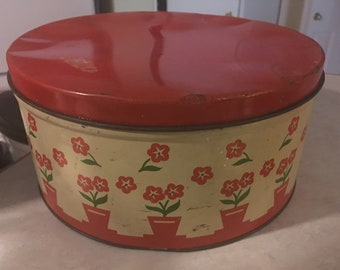 Large Old 1950's Red Tin