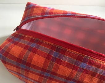 Toiletry Bag Men, Toiletry Bag Women, Kids Make Up Bag, Make Up Bag, Travel Bag,  Cosmetic Bag, Kids Toiletry Bag - plaid