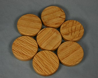 Large Wood Refrigerator Magnet - Two Inch Round Oak Magnet
