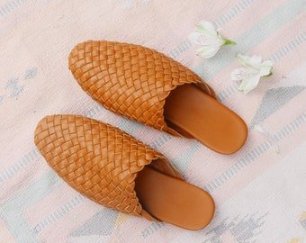 Alena Handwoven Leather Loafer, Tan Leather Loafer, Handwoven Leather Sandal