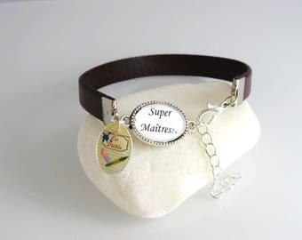 """dictation"".. .bracelet brown leather and its super cabochon Centre"