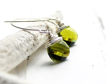 Olive Green Earrings, Wire Wrapped Swarovski Crystal Flat Pear Teardrop, Sterling Silver Earwires