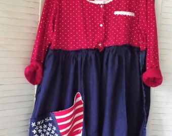 July 4TH Tunic/ Red-White-Blue Tunic/ Happy Birthday America/ Wave the Flag Tunic/ Wearable Art/ Patriotic Funwear/ Sheerfab Handmade Tunic