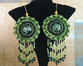 Lime, Aqua and Black Beadwork Dangle Earrings