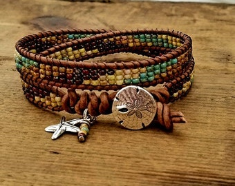 Seed Bead Leather Wrap Bracelet Beaded Leather Wrap Bracelet Womens Jewelry Bohemian Jewelry Boho