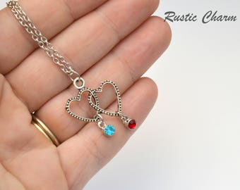 Personalized Double Heart and Bithstone Crystal Necklace