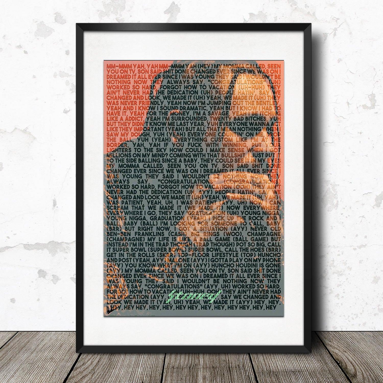 Post Malone Lyrics: Post Malone Congratulations Stoney Lyric Poster Print A4