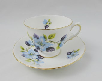 Queen Anne Blue Flower Tea Cup and Saucer, Vintage Bone China