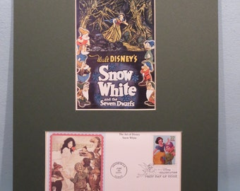 """Walt Disney's """"Snow White and the Seven Dwarfs"""" and First Day Cover of its own  Stamp"""