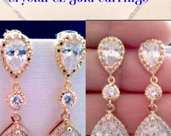 Cz gold tear drop bridal earrings,cubic zircina gold cz earrings,bridal tear drop earrings,weddings earrings,bridal jewelry,bridesmaid gift