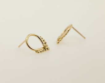 Stud earrings - 14kt gold earrings - gold ear studs - Aurora- gold jewelry - solid gold - special jewelry - bridal earrings - ear pins