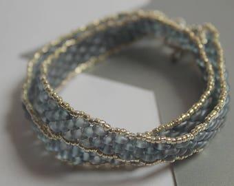 Denim Beaded Wrap Bracelet