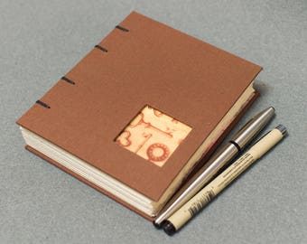 Handmade Coptic Bound Book - Brown and Pink