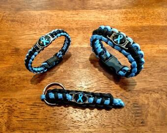 Prostate Cancer Awareness Paracord Bracelet, Keychain, or Set