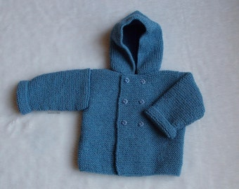 baby 6 months Denim Blue hooded coat retro style handmade marietricotine knitted fish buttons