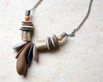 River Stone and Deer Antler Necklace with Vintage Stainless Steel Chain - natural jewelry