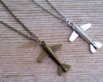 Airplane Necklace, Antiqued Silver or Antiqued Brass Plane Pendant, Traveler Necklace, Choice of Color and Length, Matching Earrings