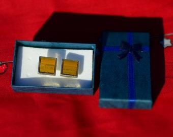 Cuff links / Computer circuit board jewlery / PCB / Motherboard tie clip - repurposed techie gift - computer present, men's cuff links