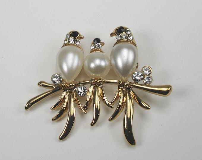 Costume Bird Pin with Rhinestone Accents; Bird Pin; Bird Pin with Faux Pearl Bodies; Faux Pearl Bird Pin; Gold Tone Bird Pin