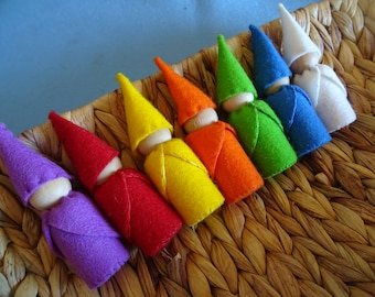 Day of the Week Waldorf Gnome Set, 100% Wool Felt and Wooden Peg Dolls