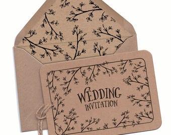 Woodland Wedding Invitation, Forest Wedding, Woodland Wedding Invitation Set, Outdoor Wedding cards, Hand drawn, Secret Garden, Barn invites