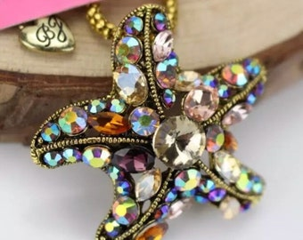multi color rhinestone starfish badge reel
