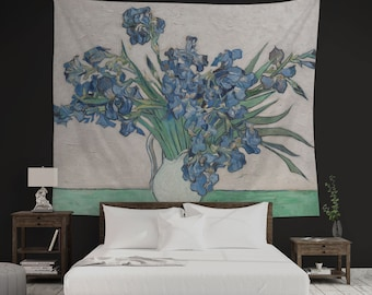 Blue Irises Print, Floral Tapestry, Van Gogh Tapestry, Floral Decoration, Classic Painting, Van Gogh Print, Blue And Green