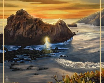 Shell Beach, California - Coast at Sunset (Art Prints available in multiple sizes)