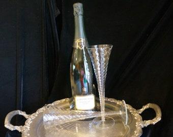 Vintage Large Open Stemmed Trumpet Champagne Flutes
