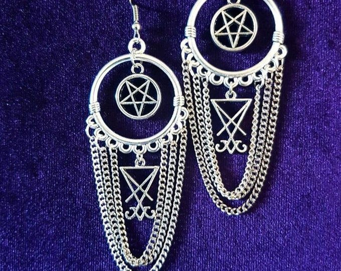 Hail Lucifer! Earrings - occult left hand path sigil of lucifer goth long chain