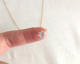 Blue Topaz Necklace, December Birthstone Necklace, Natural Gemstone, Birthday Gift, Bridesmaid Gift, Rose Gold, Gold Filled, Sterling Silver