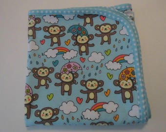 Handmade Baby Receiving Blanket Flannel Baby Blanket Rainy Day Bear Fabric - New Ready to ship