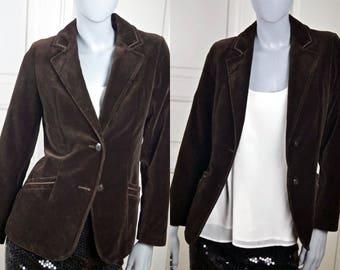 Brown Velvet Blazer, European Chocolate Brown Women's Cotton Velvet Single-Breasted Jacket, Smart Blazer: 6 US, Size 10/ UK