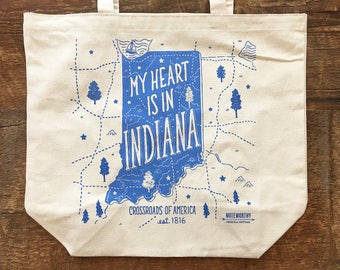 Indiana Tote Bag, My Heart is in Indiana, Canvas Tote Bag, Screen Printed Tote Bag