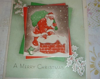 Santa Claus Going Down the Chimney Vintage Christmas Card