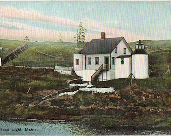 Linen Postcard, Browns Head Lighthouse, Browns Head, Maine, ca 1930