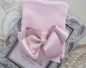 NEW STYLE - Baby Pink Newborn Hospital Hat with pink satin bow, double ply, hospital hat, newborn baby hat, Lil Miss Sweet Pea Boutique