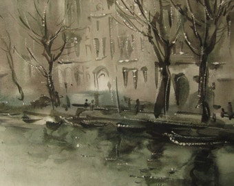 Life on the channel - Amsterdam landscape - original watercolor