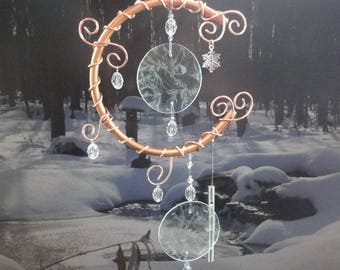 """Moon Sculpture, Winter, Ice, Wind Chime, Metal, Glass Art, Mobile, Window Hanging, Home Decor, Garden Art, Celestial, """"Frosted and Frozen"""""""